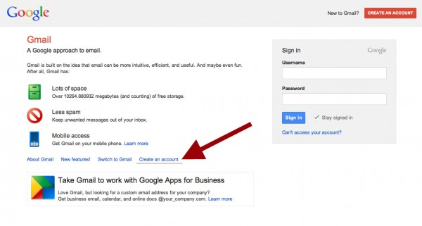 Create a Google Gmail account