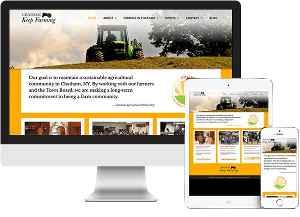 Chatham Keep Farming website on desktop, tablet and phone