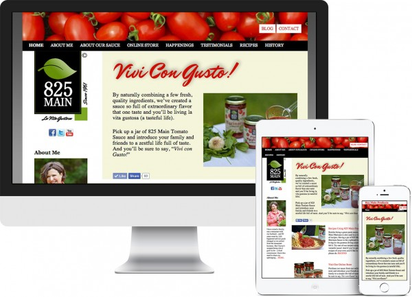 825 Main Products. Poughkeepsie, NY website on desktop, tablet and phone