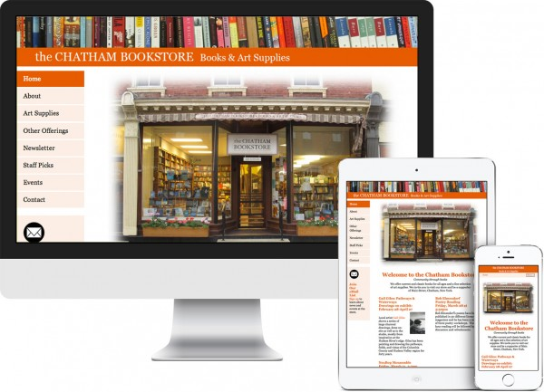 The Chatham Bookstore. Chatham, NY website on desktop, tablet and phone