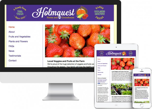Holmquest Farms. Hudson, NY website on desktop, tablet and phone