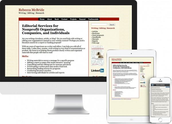 Rebecca McBride website on desktop, tablet and phone