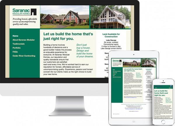 Saranac Modular Homes. East Greenbush, NY website on desktop, tablet and phone
