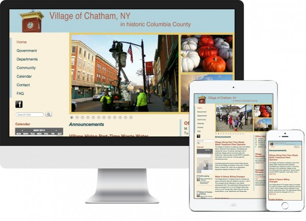 Village of Chatham. NY website on desktop, tablet and phone