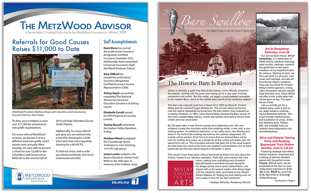 MetzWood and Millay newsletters