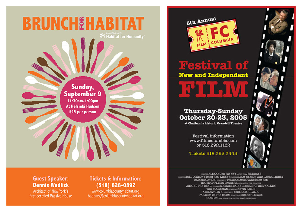 Posters for Columbia County Habitat for Humanity and FilmColumbia - designed by Trevellyan.biz, Columbia County, NY graphic designer