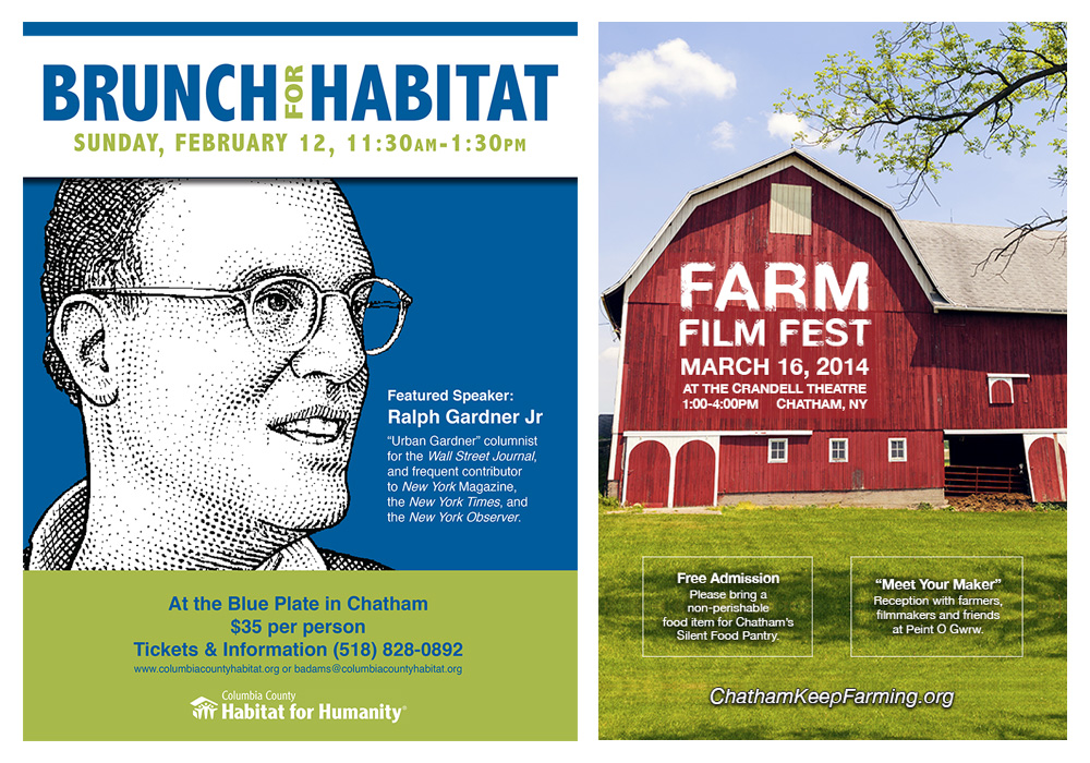 Posters for Columbia County Habitat for Humanity and Chatham Keep Farming - designed by Trevellyan.biz, Columbia County, NY graphic designer