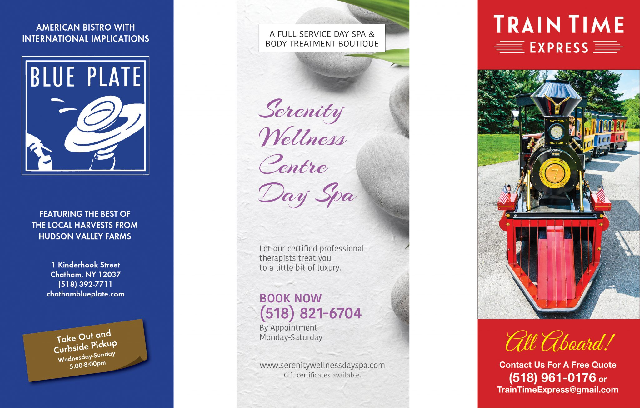 Blue Plate, Serenity Wellness Centre Day Spa and Train Time Express brochure covers