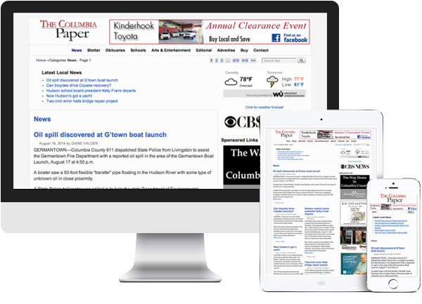 The Columbia Paper. Ghent, NY website on desktop, tablet and phone