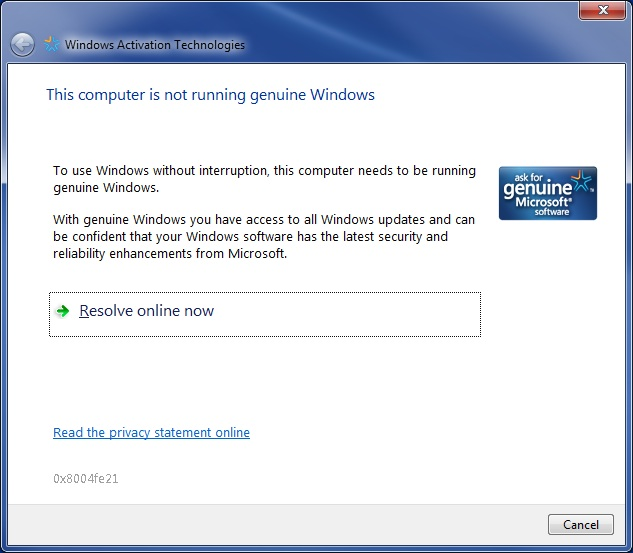 authenticate windows 7