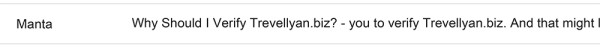 Manta Verification: Email Subject