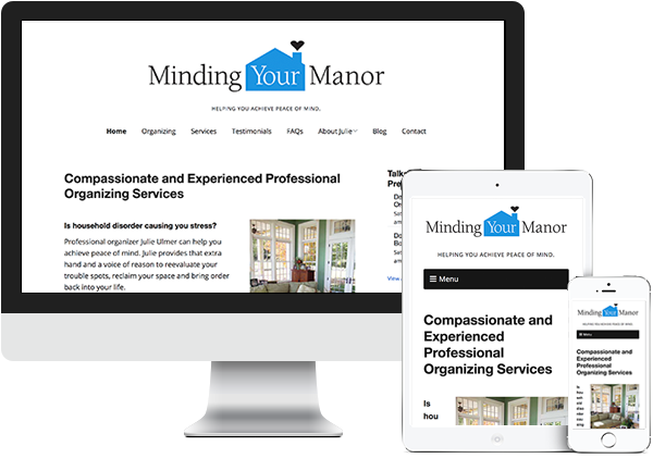 Minding Your Manor website on desktop, tablet and phone