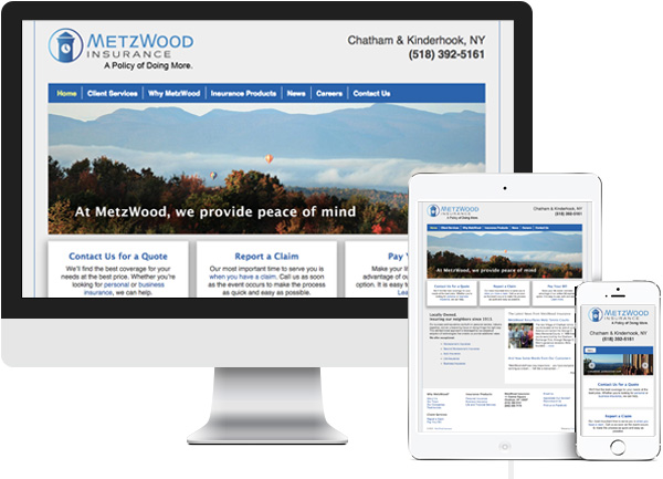 Insurance website redesign for MetzWood in Chatham, NY