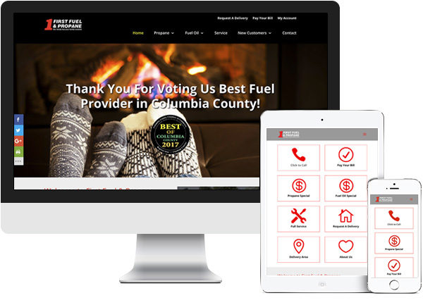 First Fuel and Propane website on desktop, tablet and phone
