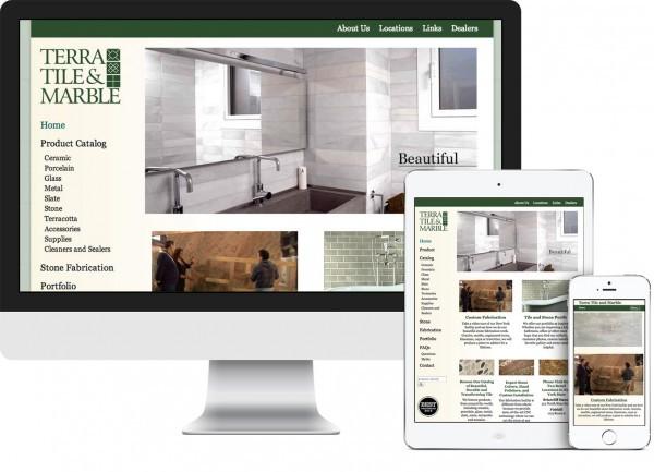 Terra Tile and Marble. Westchester website on desktop, tablet and phone