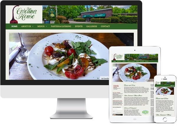 Carolina House Restaurant website on desktop, tablet and phone