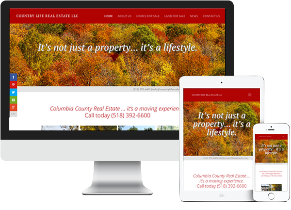 Country Life Real Estate website on desktop, tablet and phone
