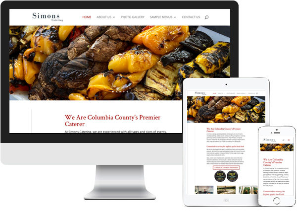 Simons Catering website on desktop, tablet and phone