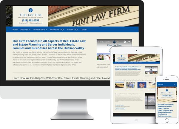 Flint Law Firm website on desktop, tablet and phone