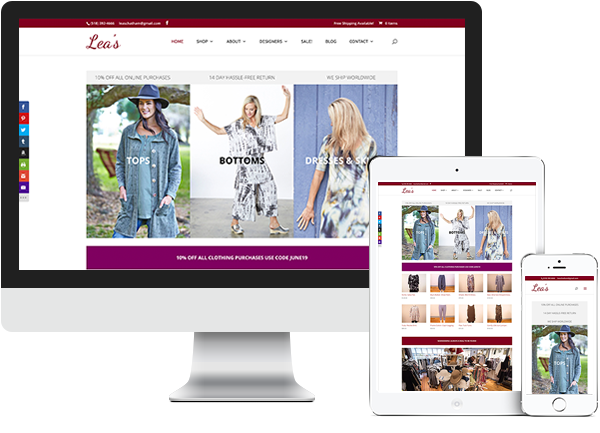 Lea's women's clothing boutique website on desktop, tablet and phone