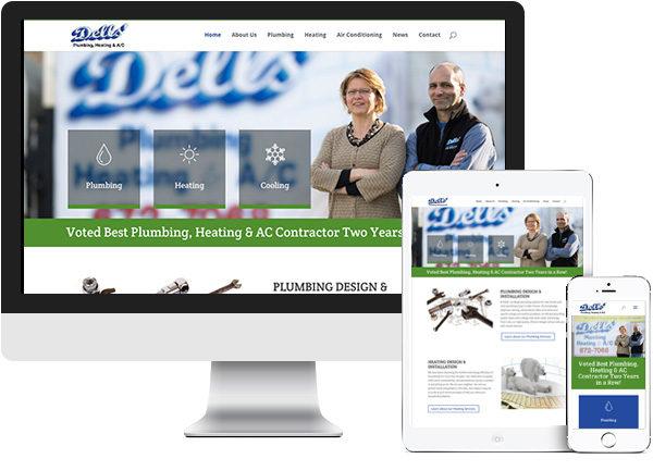 Dells' Plumbing, Heating & A/C website on desktop, tablet and phone