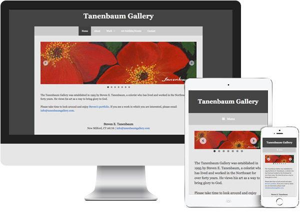 Tanenbaum Gallery website on desktop, tablet and phone