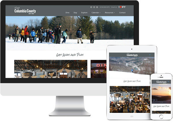Columbia County Tourism website on desktop, tablet and phone