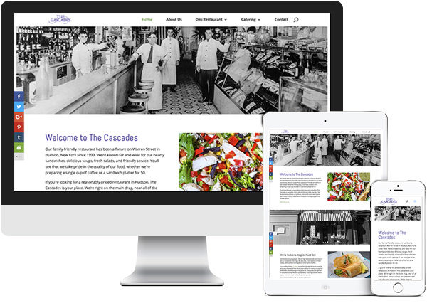The Cascades website on desktop, tablet and phone