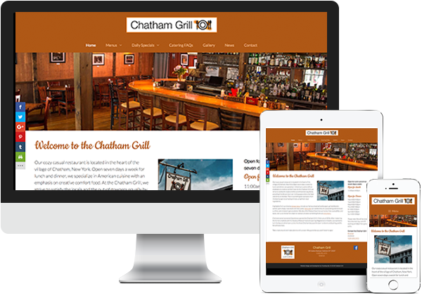 Chatham Grill website on desktop, tablet and phone