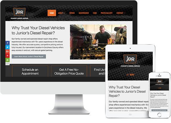 Junior's Diesel Repair website on desktop, tablet and phone