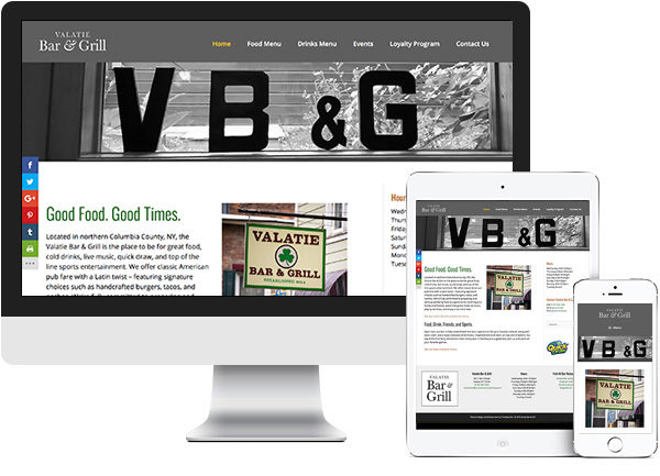 Valatie Bar and Grill website on desktop, tablet and phone