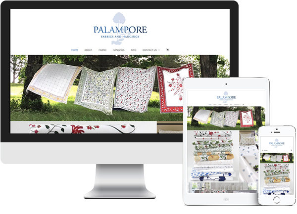 Palampore Fabrics and Hangings website on desktop, tablet and phone