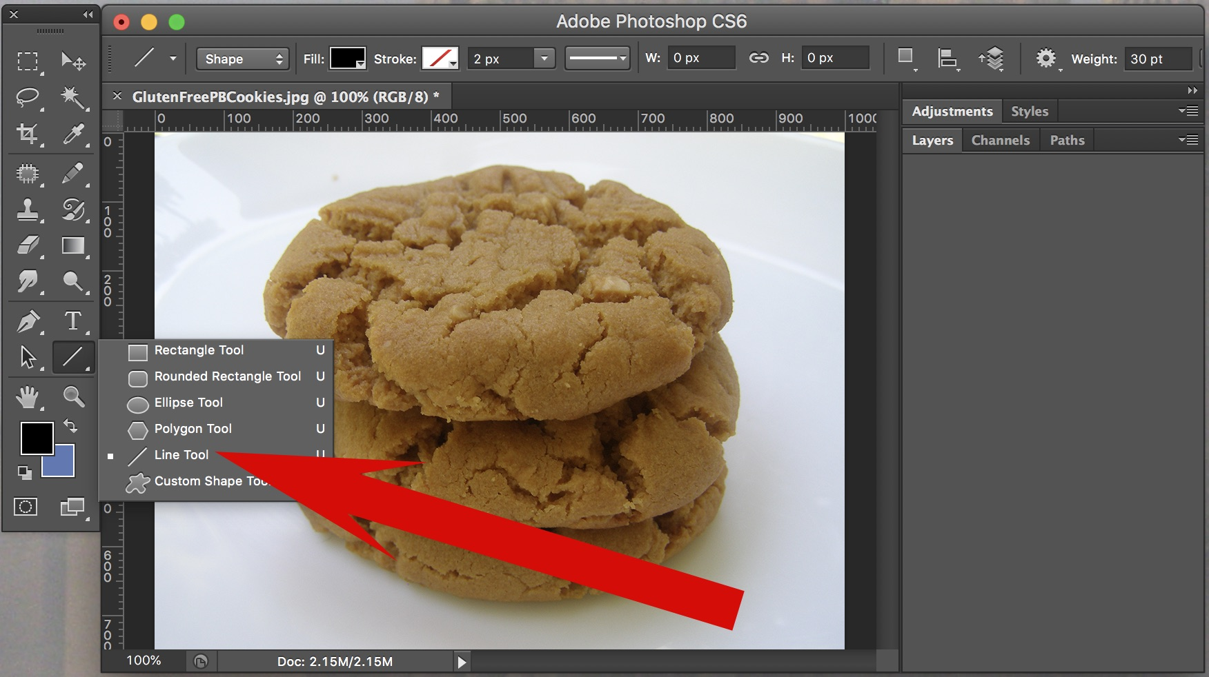 Step Two of How to Draw Arrows in Adobe Photoshop CS6