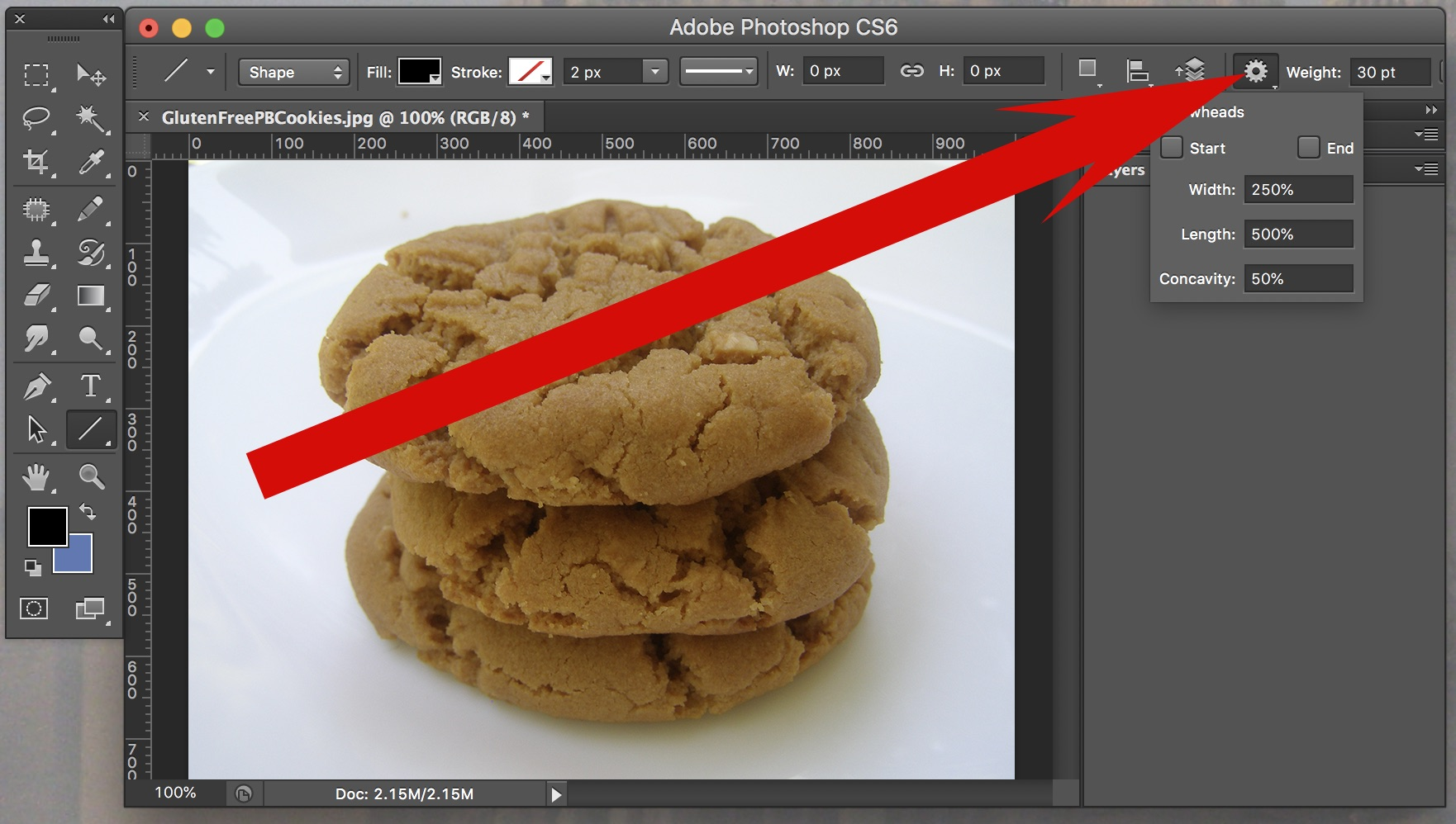 Step Three of How to Draw Arrows in Adobe Photoshop CS6