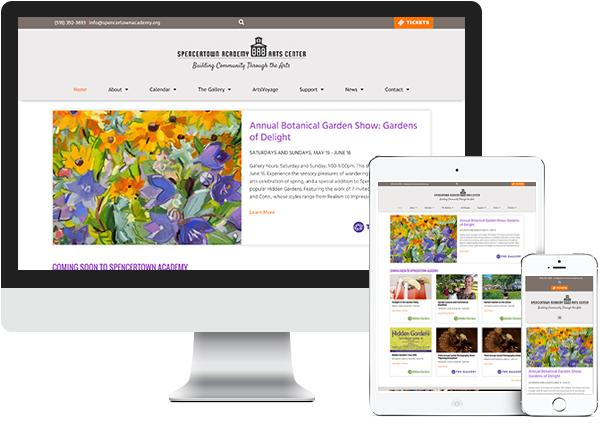 Spencertown Academy website on desktop, tablet and phone