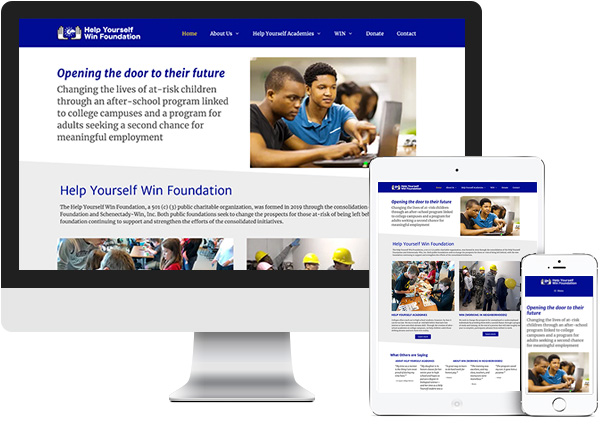 Help Yourself Win Foundation website on desktop, tablet and phone