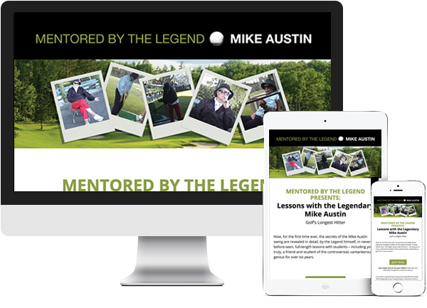 Mentored by the Legend website on desktop, tablet and phone