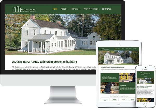 AG Carpentry website on desktop, tablet and phone