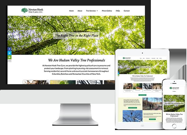 Newton Hook Tree Care website on desktop, tablet and phone