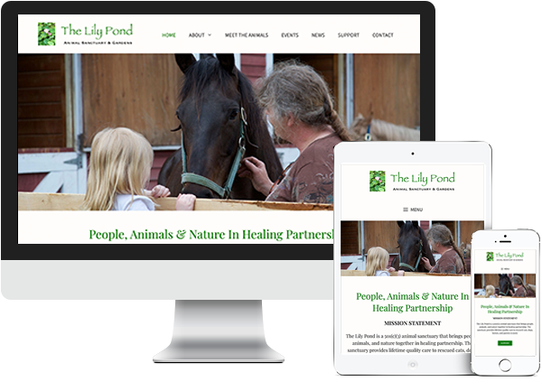 The Lily Pond Animal Sanctuary website on desktop, tablet and phone