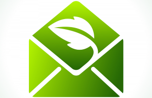 Illustration of an envelope, colored green with a leaf graphic superimposed
