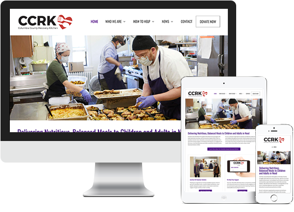 Columbia County Recovery Kitchen (CCRK) website on desktop, tablet and phone