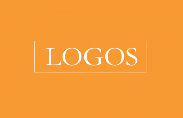 """The word """"Logos"""" on in white on an orange background"""