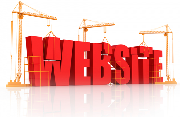 """Illustration of the word """"website"""" as if it was a construction project"""