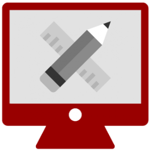 Illustration of a computer monitor with a pencil and ruler
