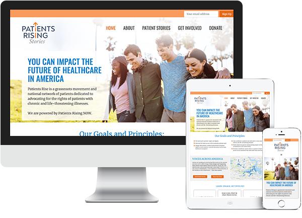 Patients Rising Stories website on desktop, tablet and phone