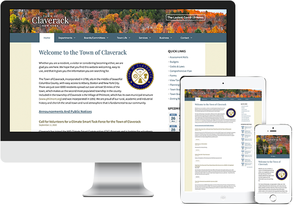 Town of Claverack website on desktop, tablet and phone