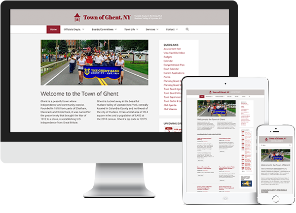 Town of Ghent website on desktop, tablet and phone