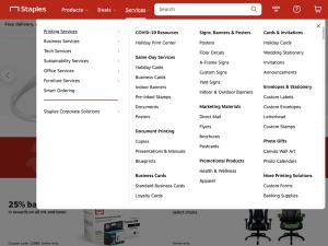 Screenshot of Staples' website mega menu