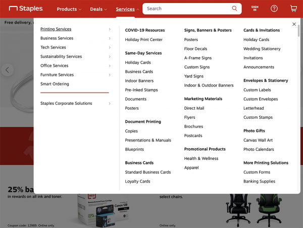 Screenshot of Staples' website mega menu